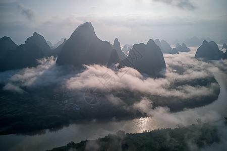 桂林兴坪相公山日出云海风光图片
