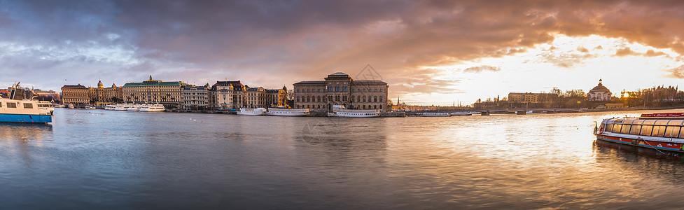 瑞典首都斯德哥尔摩城市日出全景图图片