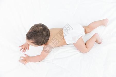 婴儿爬行背影图片