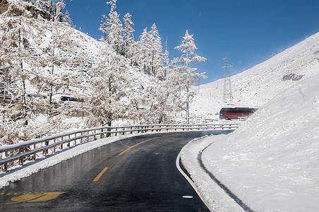 公路交通冬季雪路图片