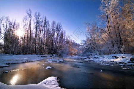 冬季日出河流森林图片