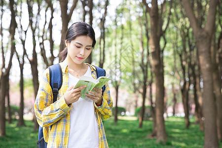 青年女性户外阅读图片