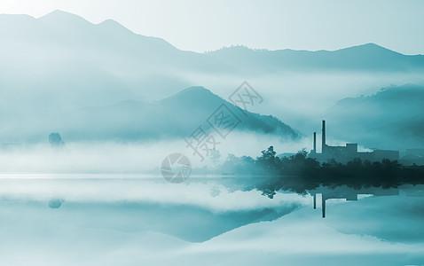 山脉河流平流雾图片