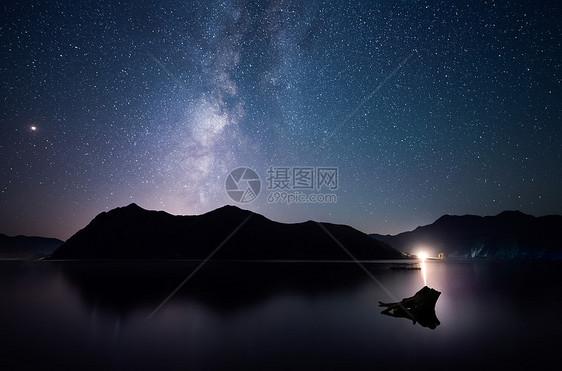 水面上的星轨银河图片