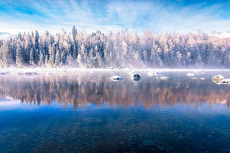 新疆山川湖泊水资源倒影雾凇图片