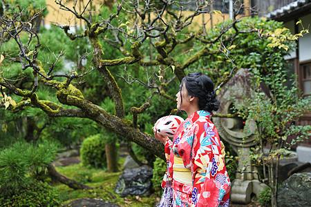 京都日式庭院和服少女图片