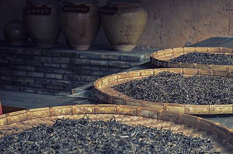 云南普洱茶园晒茶图片