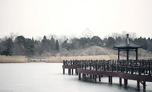 圆明园结冰湖面图片