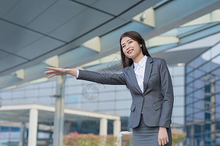 商务女性机场打车图片