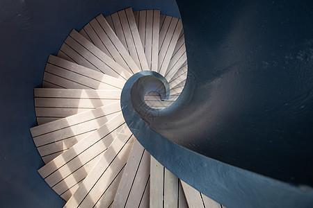 阳光下的几何旋转楼梯 图片