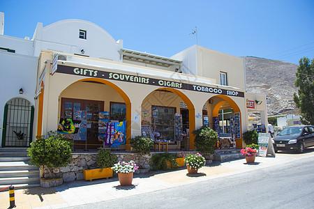希腊圣托里尼岛沿街商铺图片