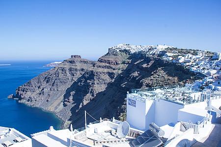 希腊圣托里尼岛边的美丽悬崖图片