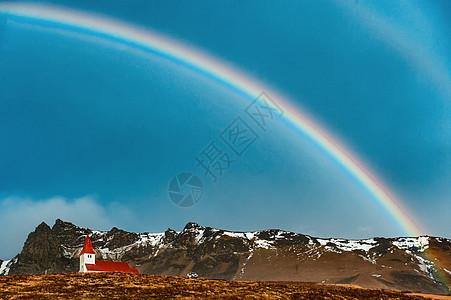 冰岛双层彩虹红房子图片