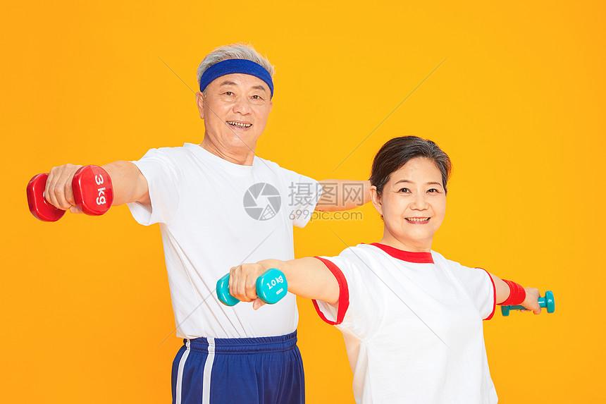 老人健身哑铃图片