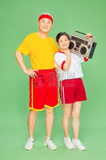 老人运动收音机图片