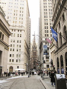 纽约华尔街和教堂图片