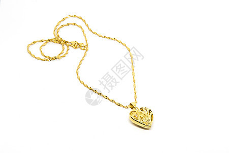 白底黄金结婚爱心项链首饰图片