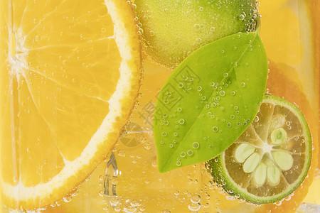 橙子青柠气泡水图片