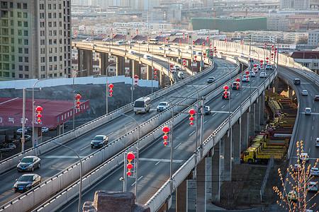 新疆城市道路车流素材图片