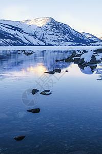 新疆喀纳斯湖雪景倒影图片