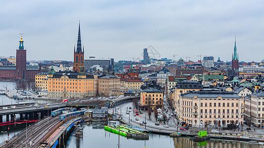 俯瞰瑞典首都斯德哥尔摩城市风光图片