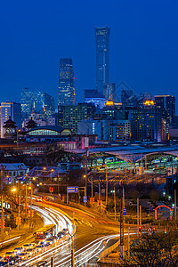 夜景北京站国贸建筑图片