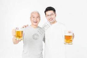 老年父子庆祝图片
