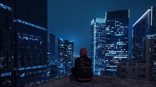 夜景人物天台背影图片