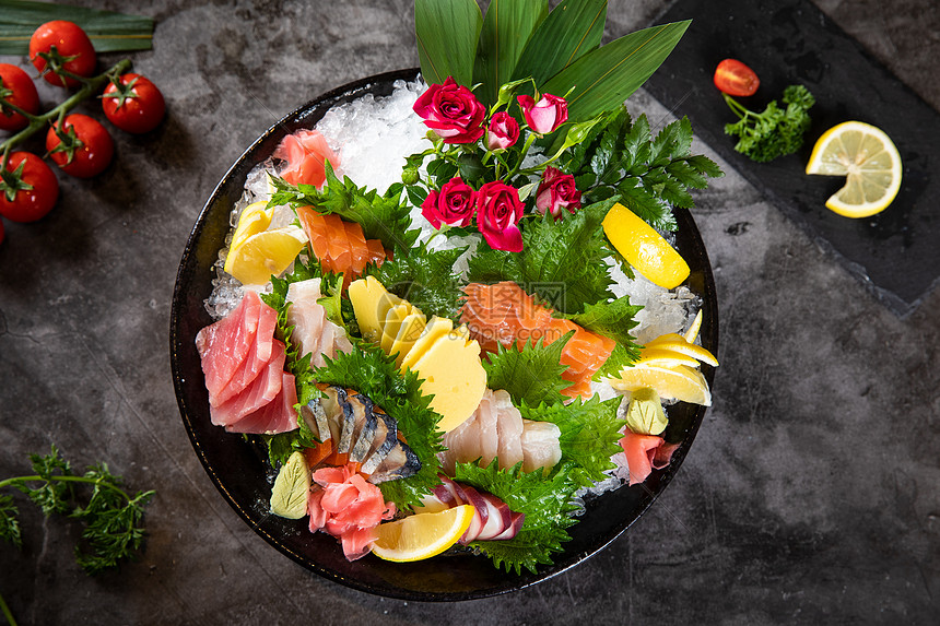 海鲜刺身拼盘图片