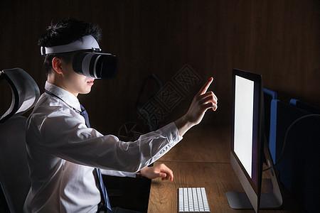 商务男性夜晚科技vr办公图片