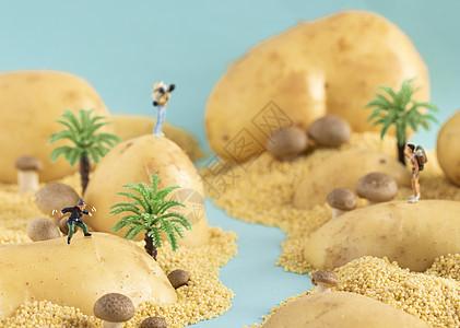 创意食物微距小人图片
