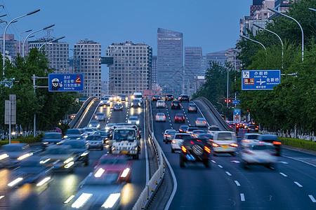 忙碌北京北二环夜景车流图片