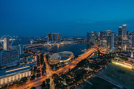 新加坡夜景灯火通明图片