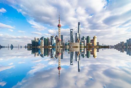 上海陆家嘴倒影图片