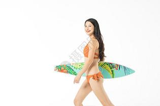 泳装美女冲浪图片