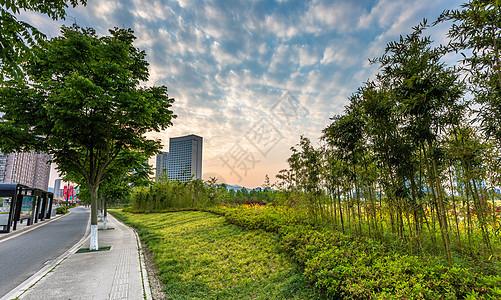 宁波宁海日落城市建筑风光图片
