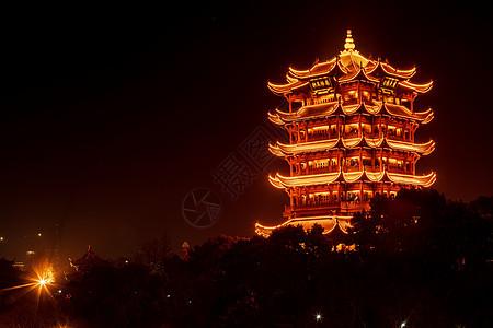 武汉黄鹤楼夜景图片