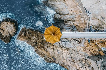 青岛海边凉亭图片