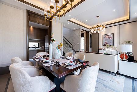 新中式别墅样板间的客厅图片