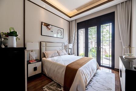 新中式别墅样板间的卧室图片