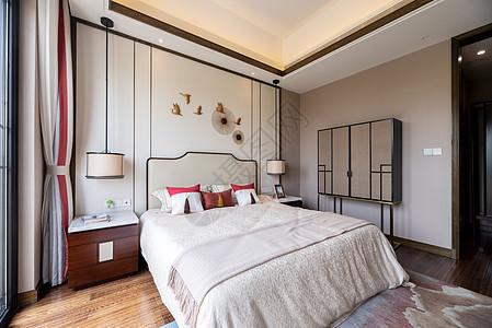 新中式别墅样板房的卧室图片