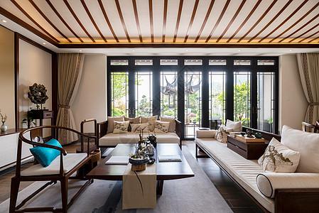 新中式别墅样板房的客厅图片