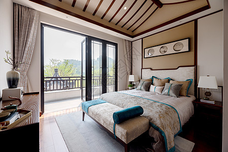 新中式别墅样板房卧室图片