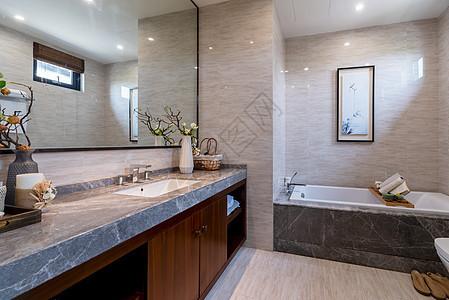 新中式别墅样板房里的卫生间图片