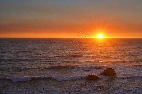 太平洋落日图片