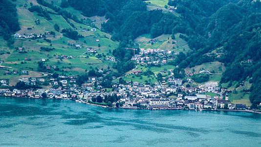 瑞士小镇湖光山色图片