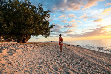 海边少女背影图片