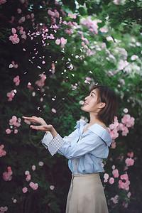 美女伸手接花瓣图片