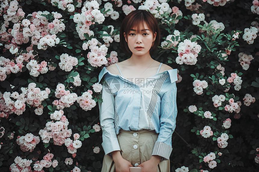 蔷薇花与美女图片