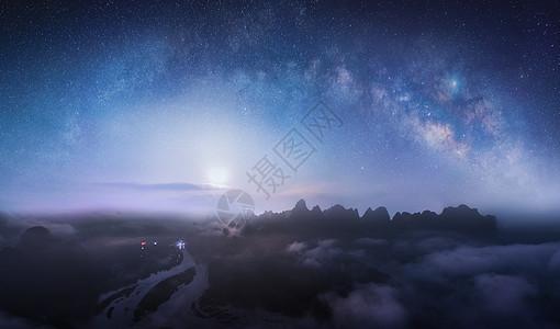 桂林山水星空月出图片